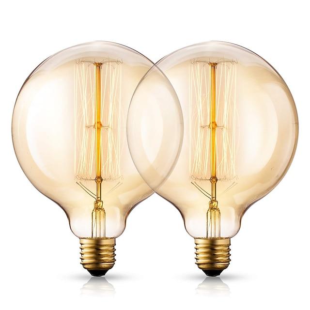 vintage žárovky edison žárovky 40 watt 2200k teplé bílé žárovky - základna e26 / e27 - čiré sklo zeměkoule - sada 210 lumenů starožitných žárovek g125 - 2 balení