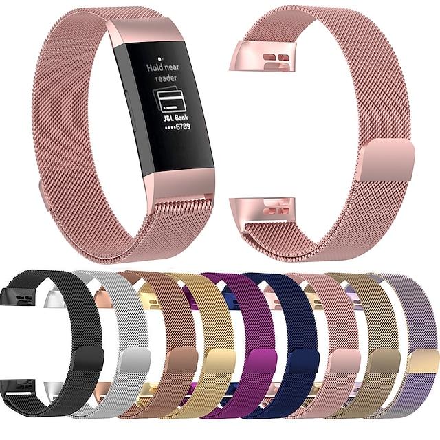 Smartwatch bånd til Fitbit 1 pcs Milanesisk rem Rustfrit stål Udskiftning Håndledsrem til Fitbit Charge 3 Fitbit Charge 4 L S