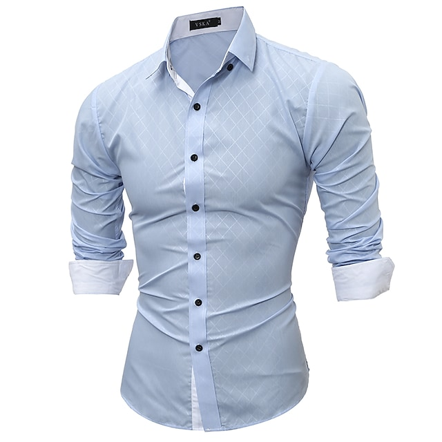 남성용 셔츠 컬러 블럭 기하학 플러스 사이즈 프린트 긴 소매 데이트 탑스 우아함 스트리트 쉬크 블랙 푸른 네이비 블루