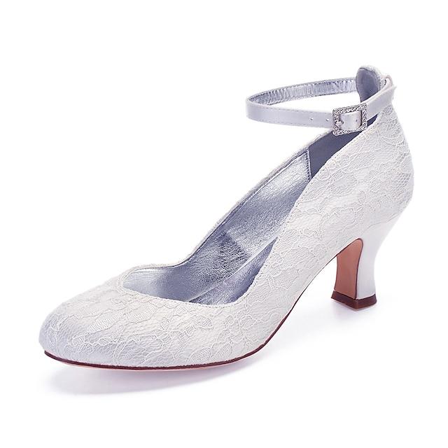 Γυναικεία Γαμήλια παπούτσια Κουβανικό Τακούνι Στρογγυλή Μύτη Αντλίες γάμου Βίντατζ Κλασσικό Γάμου Πάρτι & Βραδινή Έξοδος Δαντέλα Μονόχρωμο Λευκό Κρύσταλλο