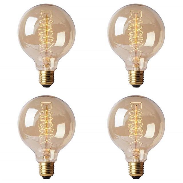 4 개 복고풍 에디슨 전구 E27220 볼트 40 와트 G80 필라멘트 빈티지 앰플 백열 전구 에디슨 램프
