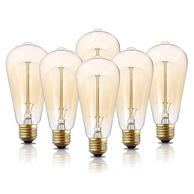 6pcs 40 W E26 / E27 ST64 Blanc Chaud 2200 k Ampoule incandescente Edison Vintage 220-240 V / 110-130 V