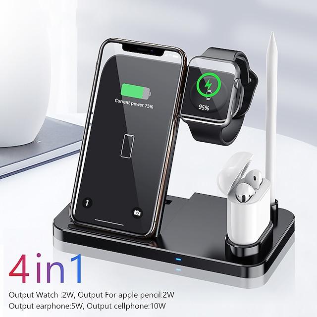 10 W Potência de saída Carregador smartwatch Estação de carregamento sem fio 4 em 1 carregadores sem fio Carregador de Base Carregador Sem Fios Carregador Sem Fios Kit De Carregador Para Apple iPhone