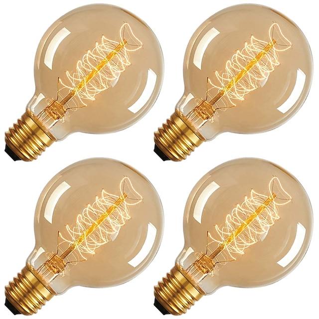 4pcs 40 W E26 / E27 G80 Jaune chaud 2200 k Ampoule incandescente Edison Vintage 220-240 V / 110-130 V
