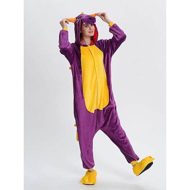 어른' 올인원 캐릭터 파자마 용 점프수트 파자마 면 플란넬 퍼플 / 레드 / 핑크 코스프레 에 대한 남자와 여자 동물 잠옷 만화 페스티발 / 홀리데이 의상