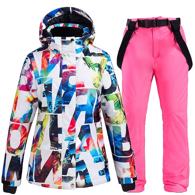 ARCTIC QUEEN Women's Ski Suit Ski Jacket with Pants Thermal Warm Waterproof Windproof Breathable Winter Jacket for Skiing Camping / Hiking Winter Sports