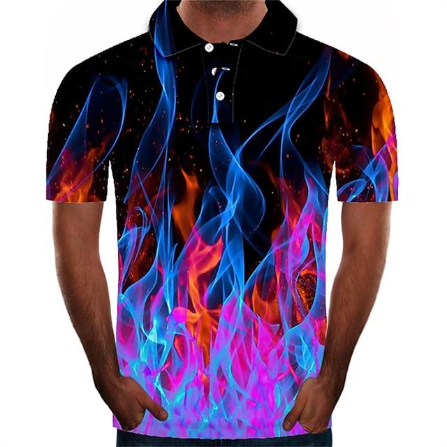 Men's Golf Shirt Graphic 3D Plus Size Short Sleeve Daily Slim Tops Streetwear Exaggerated Shirt Collar Purple