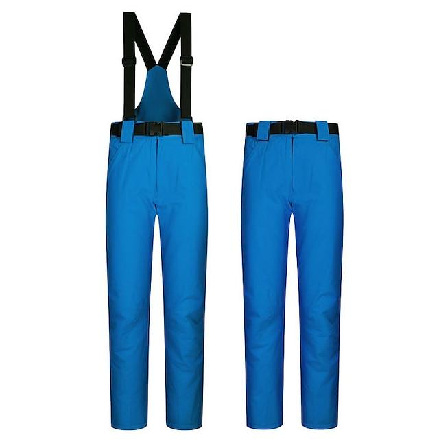 Men's Ski / Snow Pants Ski Bibs Thermal Warm Waterproof Windproof Rain Waterproof Autumn / Fall Warm Pants for Downhill Winter Sports / Cotton / Solid Colored / Breathable