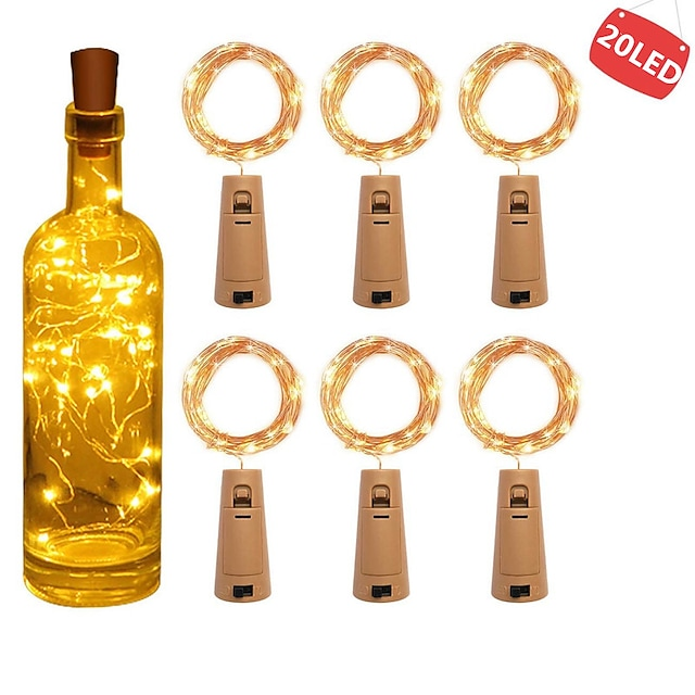 6pcs 2m 20 LEDS Wine Bottle Lights With Cork Built In Battery LED Cork Shape Silver Copper Wire Colorful Fairy Mini String Lights
