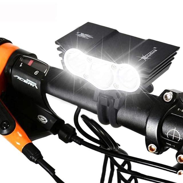 LED Eclairage de Velo Eclairage de Vélo Avant Phare Avant de Moto VTT Vélo tout terrain Vélo Cyclisme Imperméable Rechargeable Modes multiples Super brillant 18650 3000 lm Batterie Camping