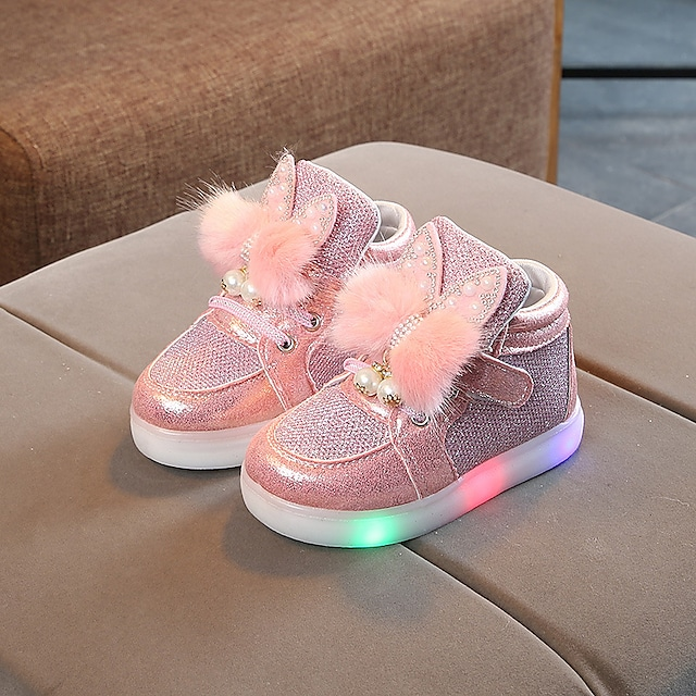 Girls' Sneakers LED Comfort LED Shoes Mesh PU LED Shoes Little Kids(4-7ys) Daily Party & Evening Feather Pearl LED Pink Gold Silver Fall Spring / Color Block