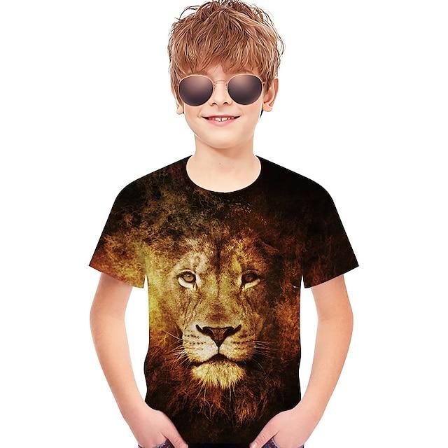 Kids Toddler Boys' T shirt Tee Short Sleeve Lion Print Geometric 3D Print Children Summer Tops Active Basic Brown
