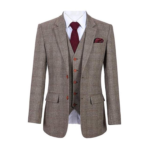 vuneno odijelo od tvida od smeđeg kariranog pletiva