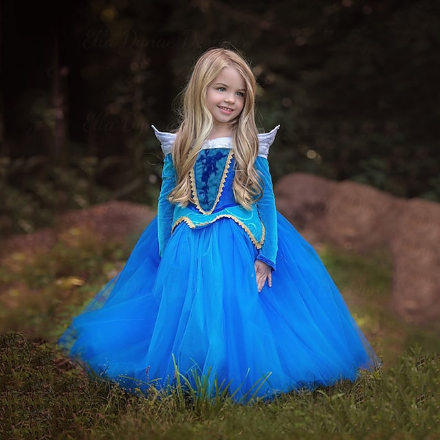 Assepoester Prinses aurora Jurken Bloemenmeisje jurk Voor meisjes Film cosplay A-lijn slip vakantie jurk Blauw Roze Kleding Kerstmis Halloween Maskerade Polyester