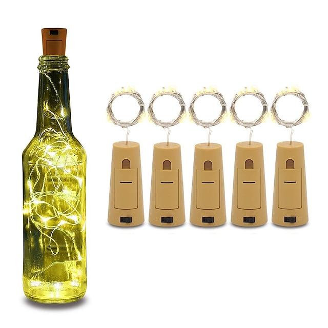 5pcs 코르크와 와인 병 빛 6.6ft 20 led 문자열 병 조명 배터리 코르크 파티 웨딩 크리스마스 할로윈 바 장식 따뜻한 화이트