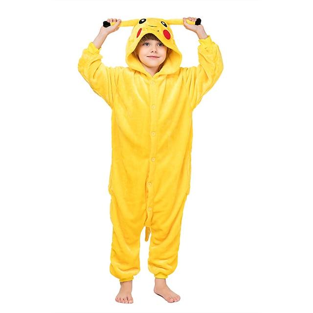 Kid's Kigurumi Pajamas Nightwear Camouflage Pika Pika Animal Onesie Pajamas Coral fleece Yellow Cosplay For Boys and Girls Animal Sleepwear Cartoon Festival / Holiday Costumes / Leotard / Onesie