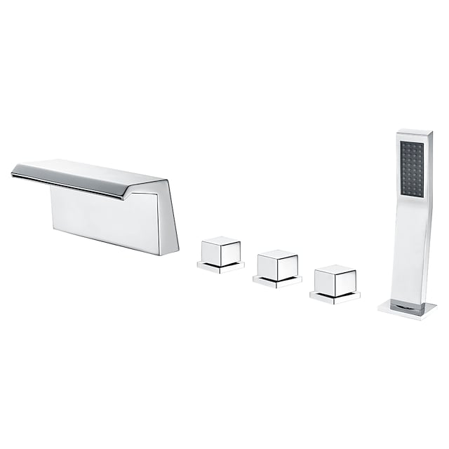 Bathtub Faucet - Contemporary Chrome Roman Tub Brass Valve Bath Shower Mixer Taps