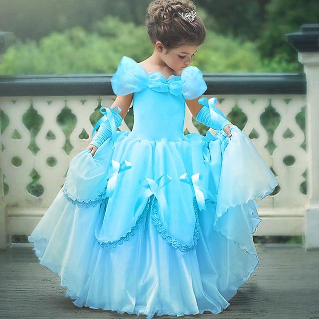Prinzessin Belle Retro Kleid Handschuhe Party Kostüme Blumenmädchen Kleid Mädchen Kinder Kostüm Gelb / Rosa / Himmelblau Vintage Cosplay Ärmellos