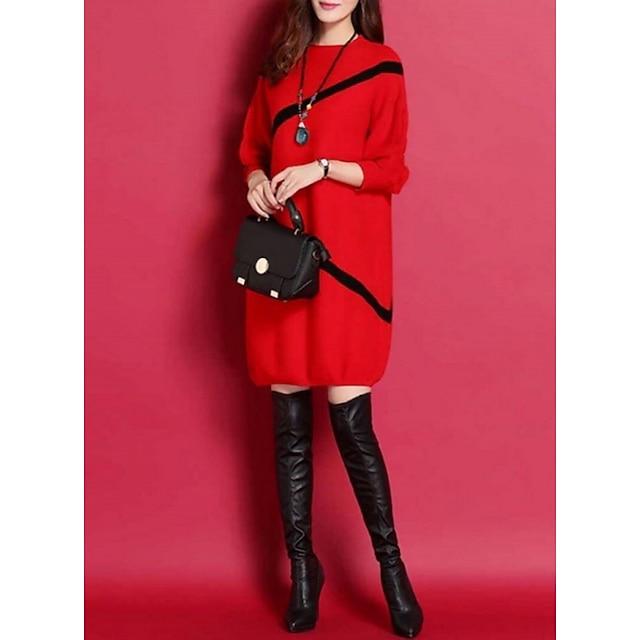 Damen Übergrössen Strickware Kleid - 3/4 Ärmel Gestreift Street Schick Freizeitskleidung Schwarz Rote M L XL XXL XXXL XXXXL XXXXXL