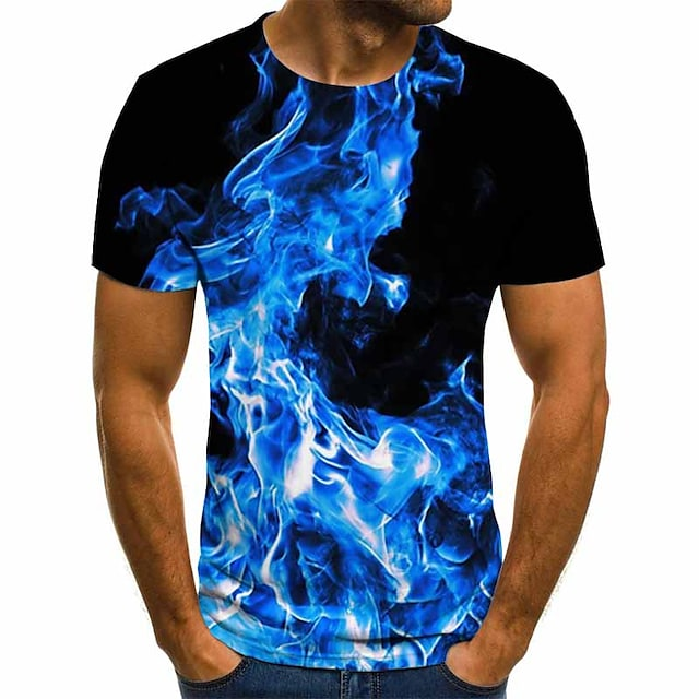 Men's T shirt Graphic Geometric 3D Plus Size Pleated Print Short Sleeve Daily Tops Streetwear Exaggerated Blue