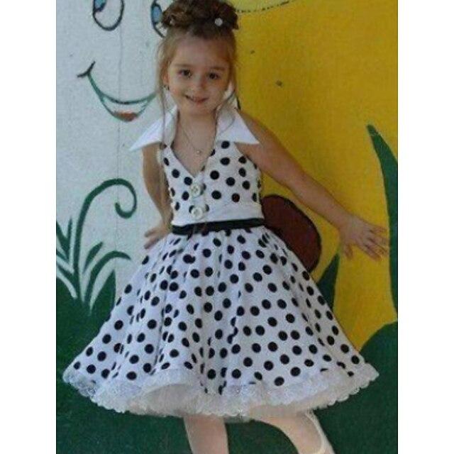 아동 작은 여아 드레스 도트무늬 화이트 드레스