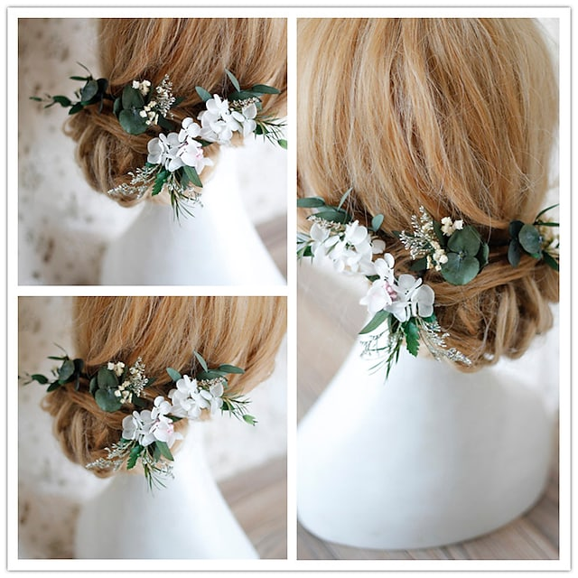 Dried Flower Hair Accessory with Floral 4 Pieces Wedding / Party / Evening Headpiece