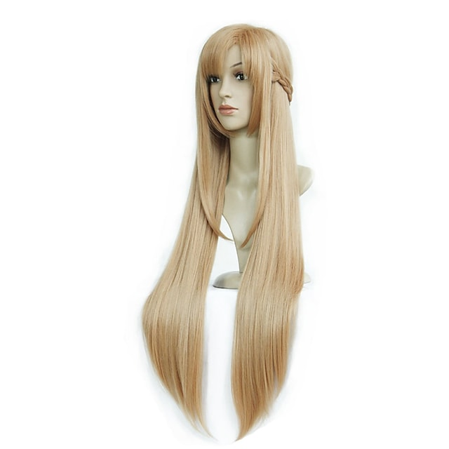 인조 합성 가발 곱슬한 비대칭 헤어컷 가발 긴 밝은 브라운 인조 합성 헤어 39 인치 여성용 최고의 품질 라이트 브라운