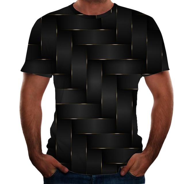 Men's T shirt Shirt Color Block 3D Plus Size Short Sleeve Daily Tops Basic Round Neck Black