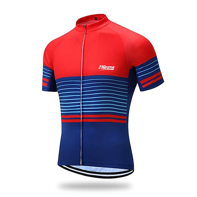 21Grams Men's Short Sleeve Cycling Jersey Spandex Polyester Red+Blue Stripes Geometic Bike Jersey Top Mountain Bike MTB Road Bike Cycling UV Resistant Quick Dry Breathable Sports Clothing Apparel