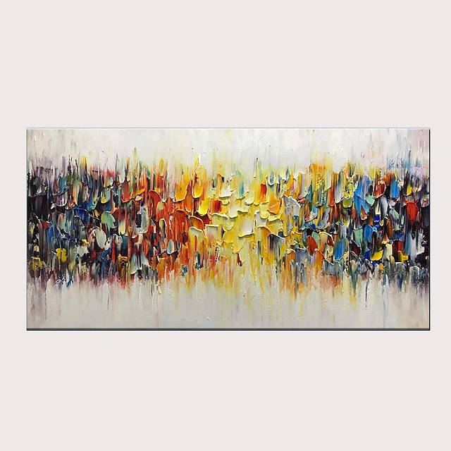 Oil Painting Hand Painted Horizontal Abstract Pop Art Modern Stretched Canvas