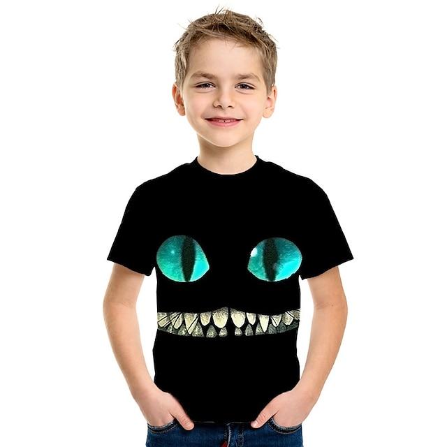 Kids Boys' T shirt Tee Short Sleeve Cat Anime 3D Animal Print Children Summer Tops Active Fashion Black
