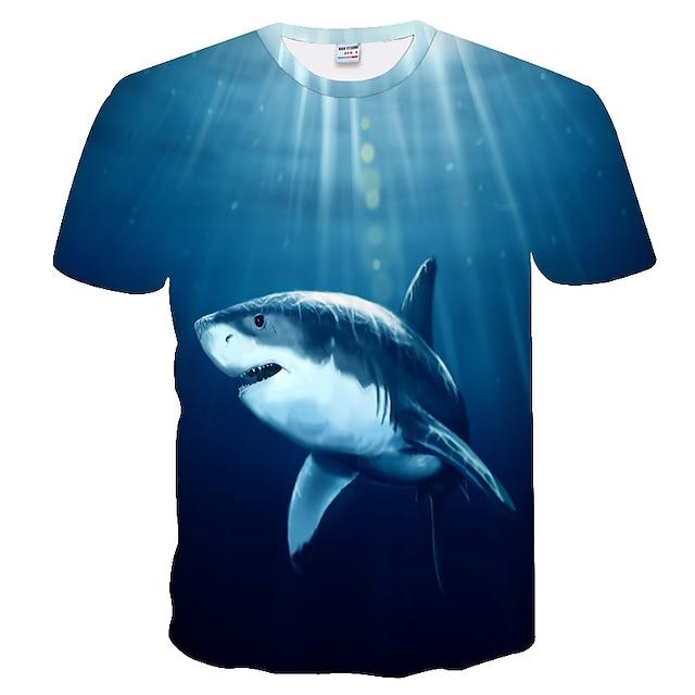 남성용 T 셔츠 컬러 블럭 3D 플러스 사이즈 짧은 소매 일상 탑스 베이직 푸른