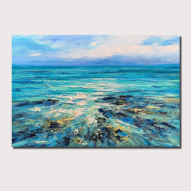 Oil Painting Hand Painted Abstract Landscape Comtemporary Modern Stretched Canvas With Stretched Frame or Rolled Without Frame