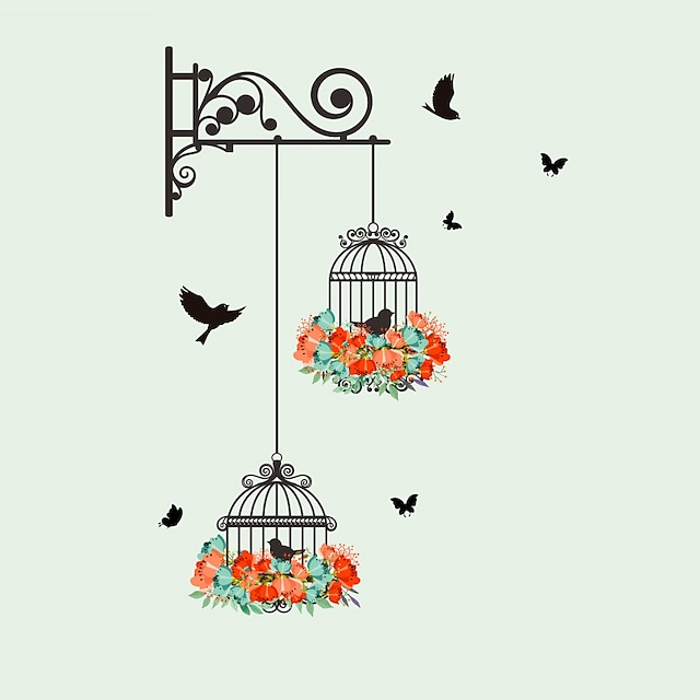 New Birdcage Flower Flying for Living Room Nursery Room Wall Stickers Vinyl Wall Decals Wall Sticker for Kids Room Home Decor 56*76cm