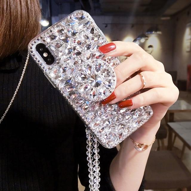 כיסוי טלפון עבור אפל כיסוי אחורי iPhone 13 12 pro max 11 se 2020 x xr xs max 8 7 6 טקסטיל בצבע אחיד ריינסטון