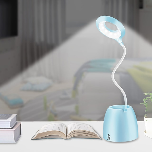 Rechargeable Desk Lamp with Pen Holder Eye Protection Flexible Arm Small Table Lamp Touch Switch Reading Light LED Bedroom Study Room Bedside Home Office