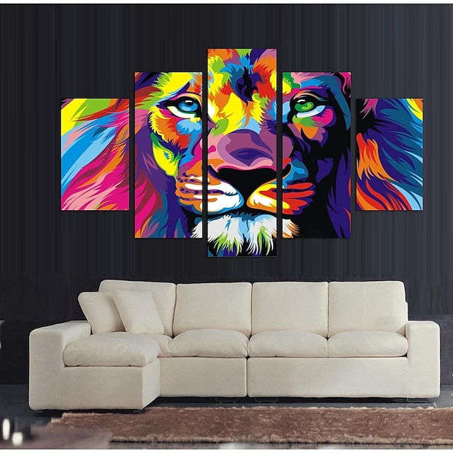 Print Rolled Canvas Prints Stretched Canvas Prints - Abstract Animals Vintage Modern Five Panels Art Prints