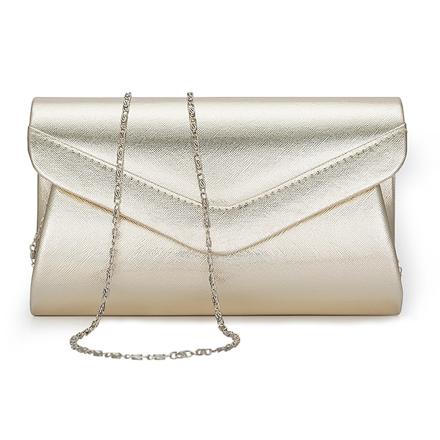 Women's Bags PU Leather Polyester Evening Bag Chain Solid Color Plain Party Wedding Event / Party Evening Bag Wedding Bags Handbags Black Gold Silver