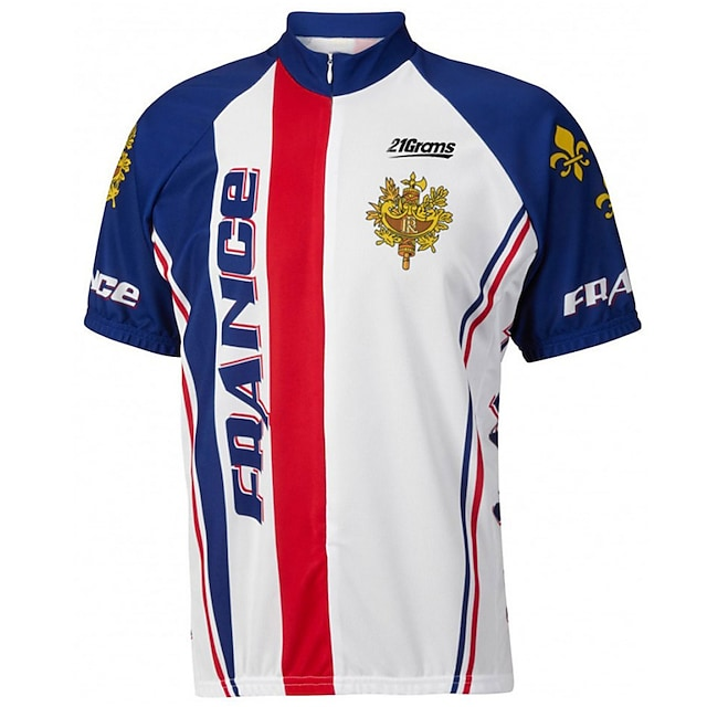 21Grams Men's Short Sleeve Cycling Jersey Summer Spandex Polyester Blue+White Solid Color France National Flag Bike Jersey Top Mountain Bike MTB Road Bike Cycling UV Resistant Quick Dry Breathable