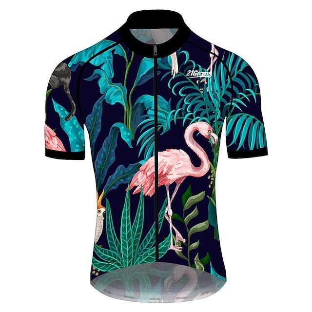 21Grams Męskie Krótki rękaw Koszulka rowerowa Lato Spandeks Poliester Różowy + zielony Flaming Kwiatowy / Roślinny Zwierzę Rower Dżersej Top Kolarstwo górskie Kolarstwie szosowym Odporny na UV