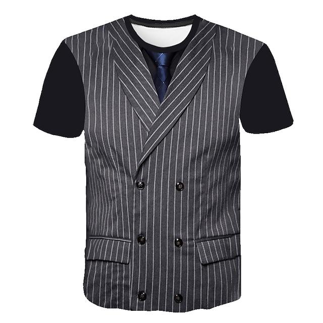 남성용 티셔츠 T 셔츠 3D 인쇄 그래픽 추상화 3D 프린트 짧은 소매 데이트 탑스 사업 스트리트 쉬크 편안함 크고 크고 퍼플 클로버 다크 그레이