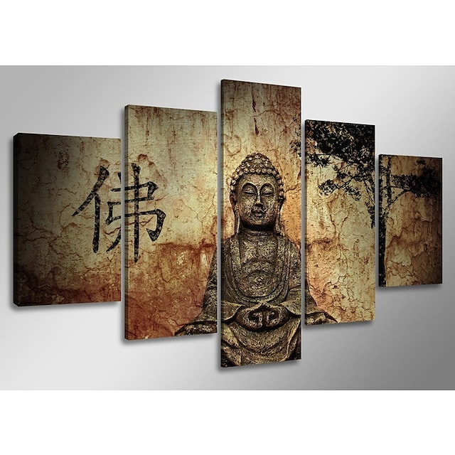5 Panel Wall Art Canvas Prints Painting Artwork Picture Buddhism Buddha Home Decoration Décor Stretched Frame / Rolled
