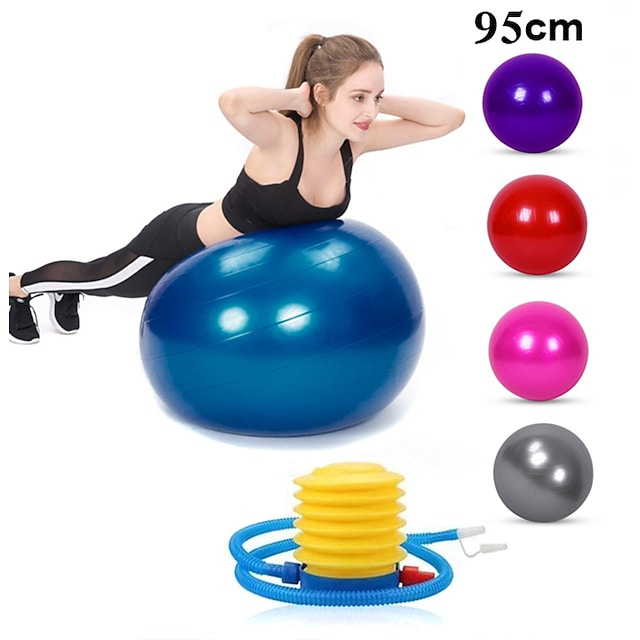 95cm Exercise Ball / Yoga Ball Professional Extra Thick Anti Slip Durable PVC Support 500 kg With Foot Pump Physical Therapy Balance Training Relieve Back Pain for Home Workout Yoga Fitness