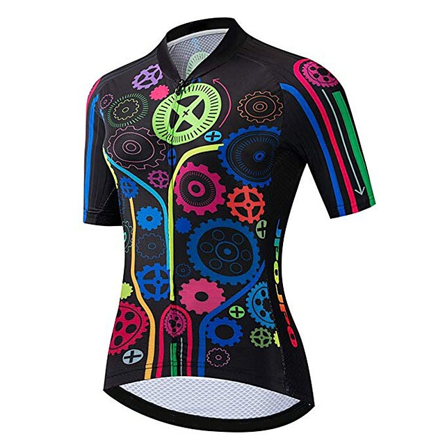 21Grams 여성용 짧은 소매 싸이클 져지 스판덱스 블랙 / 레드 기어 자전거 져지 탑스 산악 자전거 로드 사이클링 자외선 방지 빠른 드라이 통기성 스포츠 의류 / 스트레치