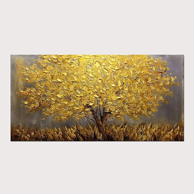 Oil Painting Abstract Golden Tree 3D Hand Painted on Canvas Texture Palette Paintings with Stretched Frame for Home Decor With Stretched Frame