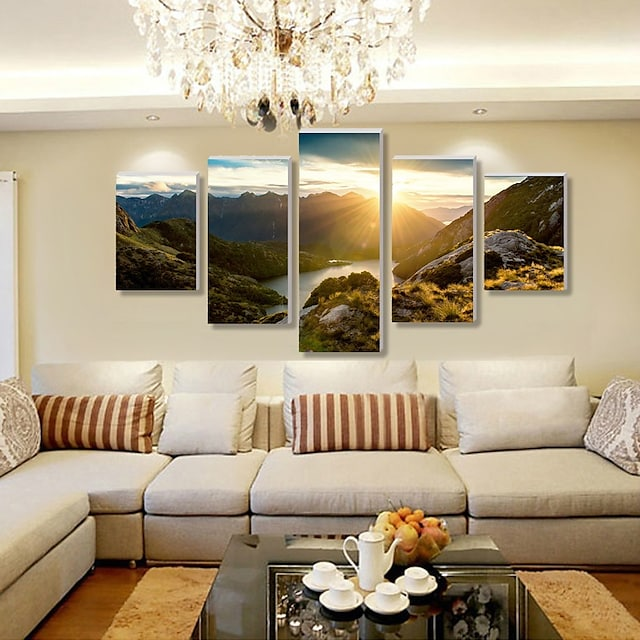 5 Panel Wall Art Canvas Prints Painting Artwork Picture Landscape Mountain River Home Decoration Décor Stretched Frame / Rolled