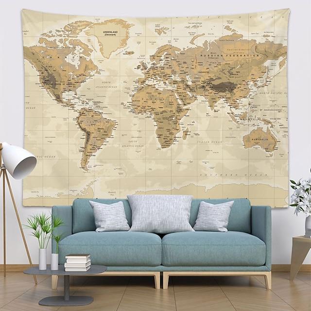 tapiserie de perete decor de artă pătură perdea picnic față de masă agățat acasă dormitor sufragerie dormitor decorare hartă lume topografie stil pergament