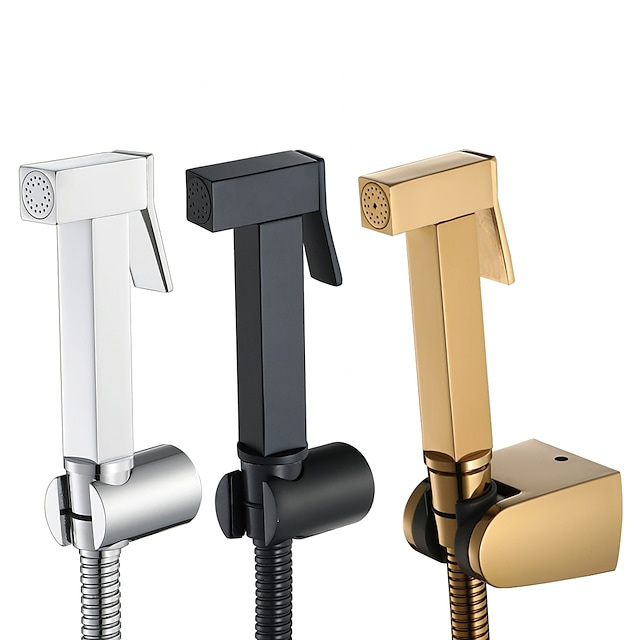 Bidet Faucet, Black/Gold/Sliver Contemporary COD Handheld bidet Sprayer High-pressure Below Self-Cleaning Contain with Hot and Cold Water