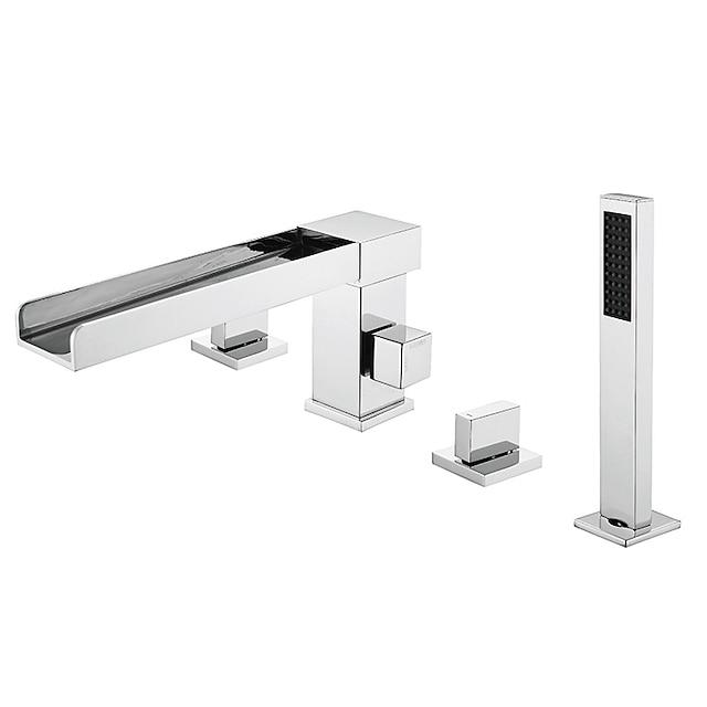 badkarkran - 4 hål vattenfall badkar duschkran krom modern europeisk stilblandare