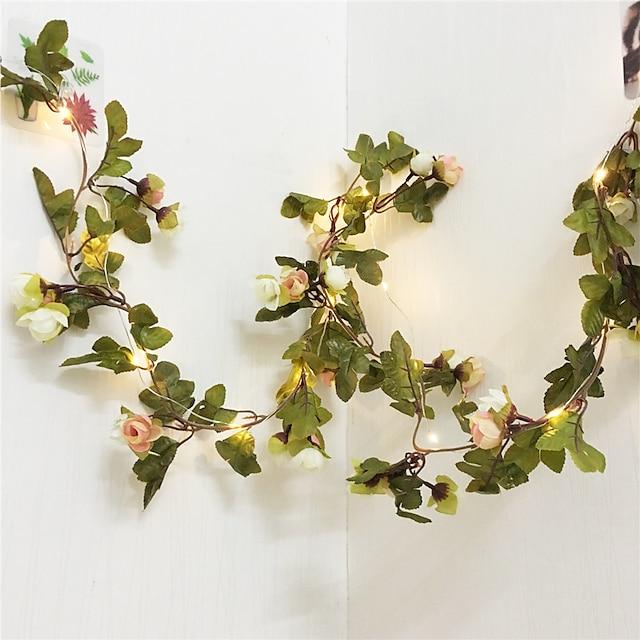 guirlande de lumières led guirlande de mariage décoration de mariage 2,2 m fleur rose Saint Valentin événement de mariage guirlande de fête décor de patio de vacances guirlande lumineuse 20 leds aa